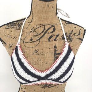 🚨2/$20 Crochet Bikini Top XS S Navy Blue White